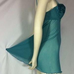 Ambrielle Sheer Babydoll Turquoise Size Large